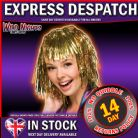 70's FANCY DRESS WIG ~ TINSEL WIG GOLD